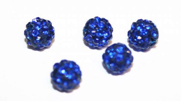 10pcs x 6mm Sapphire blue Pave Crystal Bead - 2 holes  PCB06-55-010